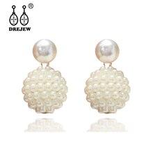 DREJEW Elegant Butterfly Gold Pearl Ball Statement Earrings Sets 2019 Fashion 925 Drop for Women Wedding Jewelry HE6611