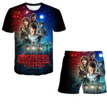 Summer Stranger Things Suits Polyester T Shirt and Short Children Sets Top+shorts 2pcs Sets 3d Print Children Clothing Sets