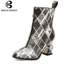 BONJOMARISA New 34-44 Brand Designer mixed-color Ankle Boots Women 2019 Winter Fashion Sewing Booties High Heels Shoes Woman