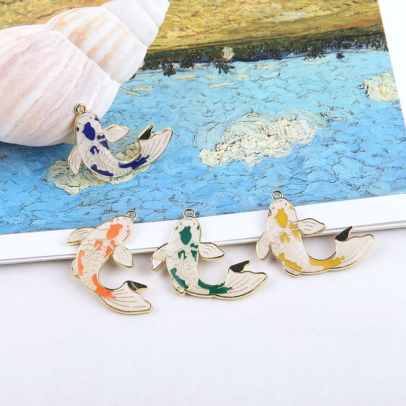 DIY Handmade Accessories Alloy Drop Oil Carp Rich Expensive Koi Penico Pendant Earring Sequining Accessories Material