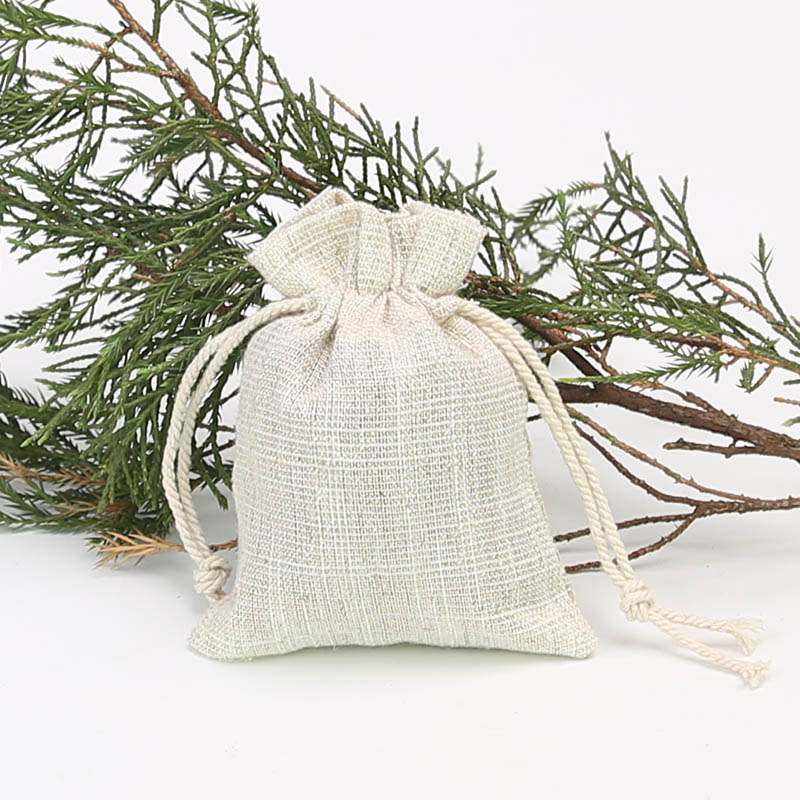 9 * 12cm Jewelry Candy Drawstring Bag Gold Silk Linen Storage Bag Christmas Party Gift Bag 100pcs