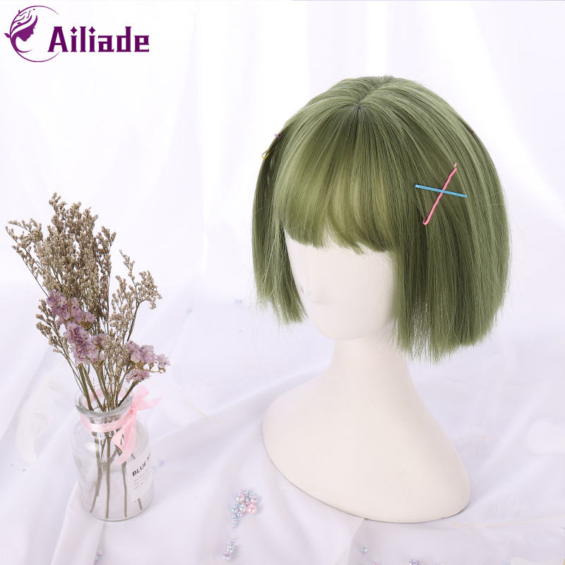 AILIADE Synthetic 12inch Straight Short Bob Wigs Bangs Green Anime Cosplay Wig Female Daily False Hair