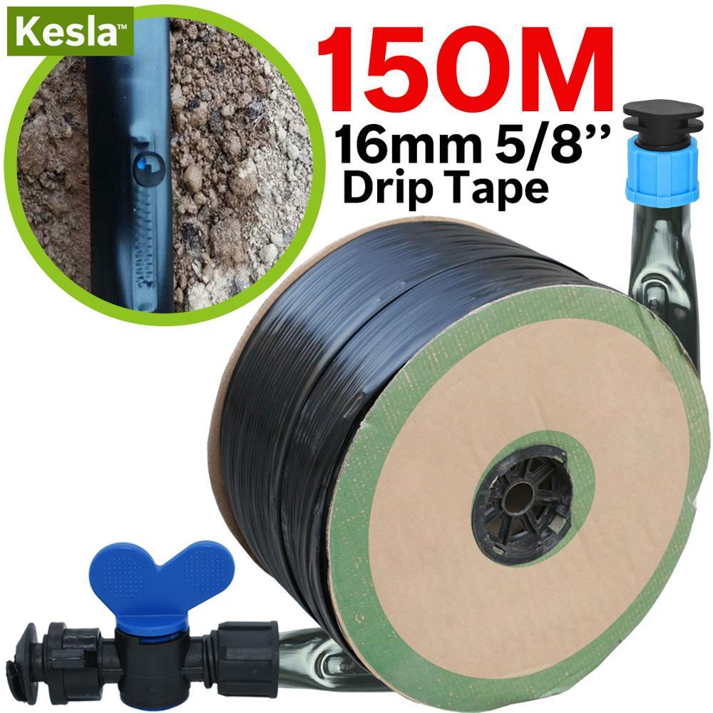 KESLA 20-150M 16mm 0.2mm Thickness Drip Irrigation Tape 5/8'' 8mil 20cm Emitter Dripper Spacing Hose Greenhouse Garden Connector