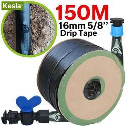 Kesla 150 m 16mm 0.2mm espessura gotejamento irrigação fita 5/8 888mil w/20 cm emissor dripper espaçamento mangueira jardim estufa conector