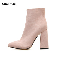 Womens Boots Flock Pointed Toe Ankle Square Heels Apricot 2019 New Antumn Ladies Fashion Shoes Size35-42