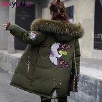 2019 Winter Down Jacket Coat Women Fur Hooded Long Parkas Embroidery Cotton Padded Coat Women Windbreaker Warm Thicken Outerwear