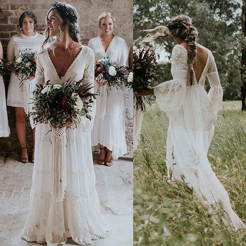 2019 Lace Boho Wedding Dresses Long Sleeves A Line Backless Sweep Train Pleats Beach Bridal Gowns Bride Dress Vestido de noiva-in Wedding Dresses from Weddings & Events