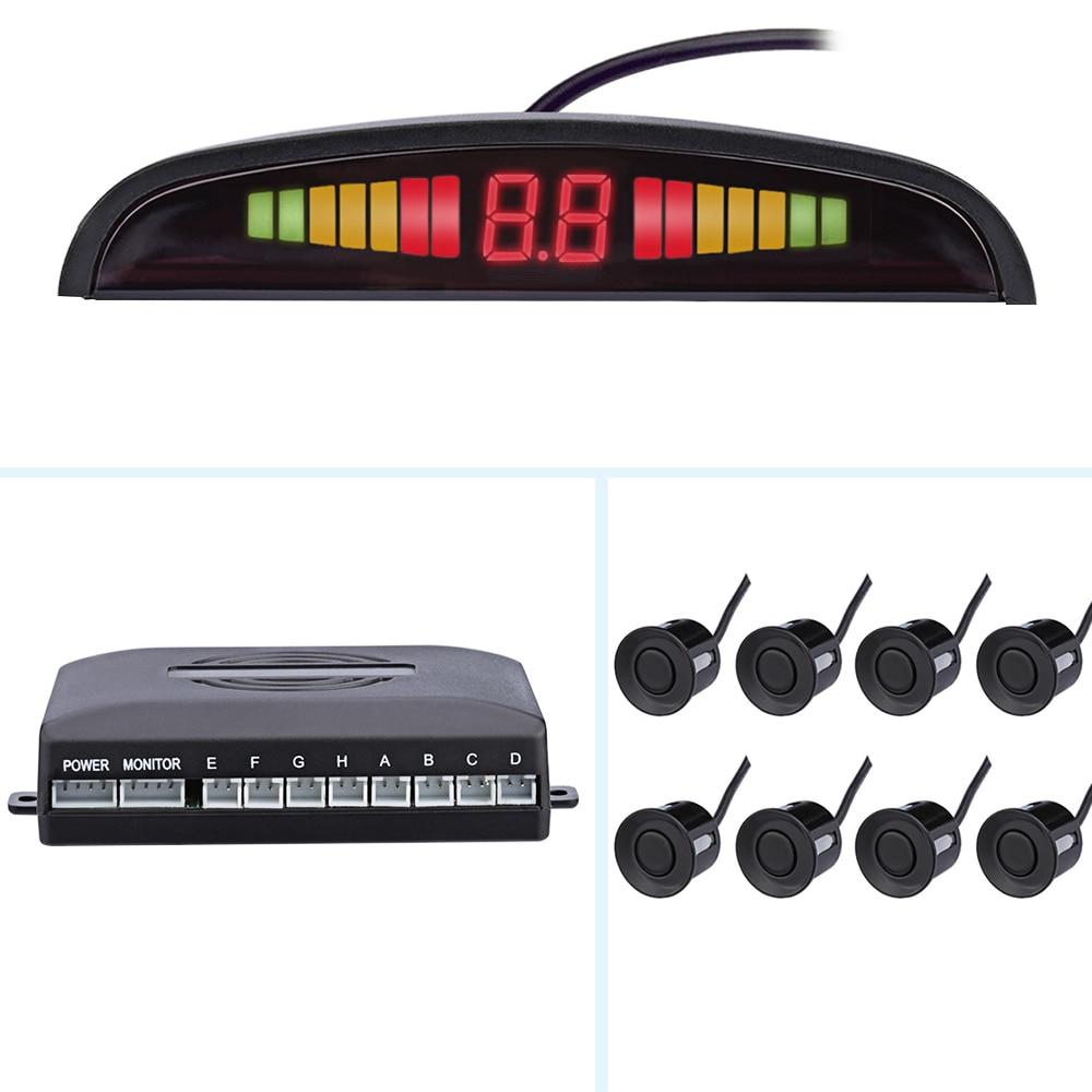 Czujnik parkowania led samochodowy z 8 czujnikami rewers Backup czujnik parkowania samochodu detektor monitor System 22MM podświetlenie wyświetlacz trwały
