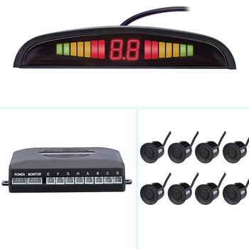Sensore di Parcheggio Auto Kit di Parcheggio 8 Sensori Auto Del Radar di Parcheggio Del Monitor Rilevatore di Sistema di Display a Led Auto Reverse Assistenza-in Sensori di parcheggio da Automobili e motocicli su Ma Shang You Che Store