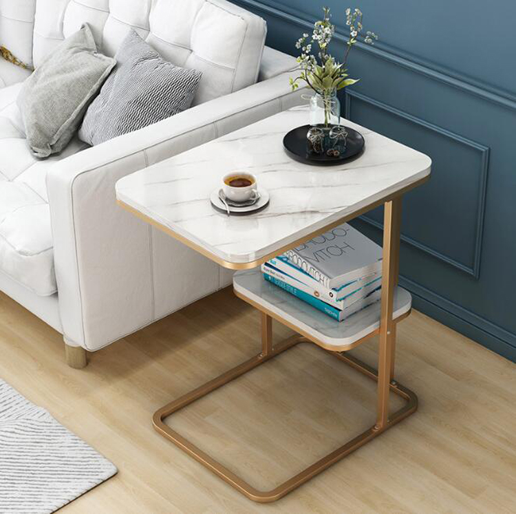 Creative Side Table Living Room Small Tea Table Sofa Corner Iron Frame Square Coffee Table Sofa Side Table With One Shelf