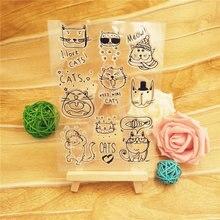 Venda quente gato dos desenhos animados alfabeto transparente selo transparente/selo de silicone rolo selo diy scrapbook álbum/cartão de produção