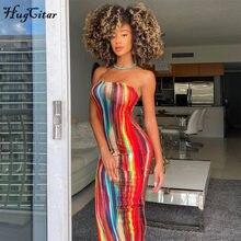 Hugcitar – robe Maxi moulante sans manches, col bateau, Style Tye Die, printemps été, mode femme, Sexy, Streetwear, 2021