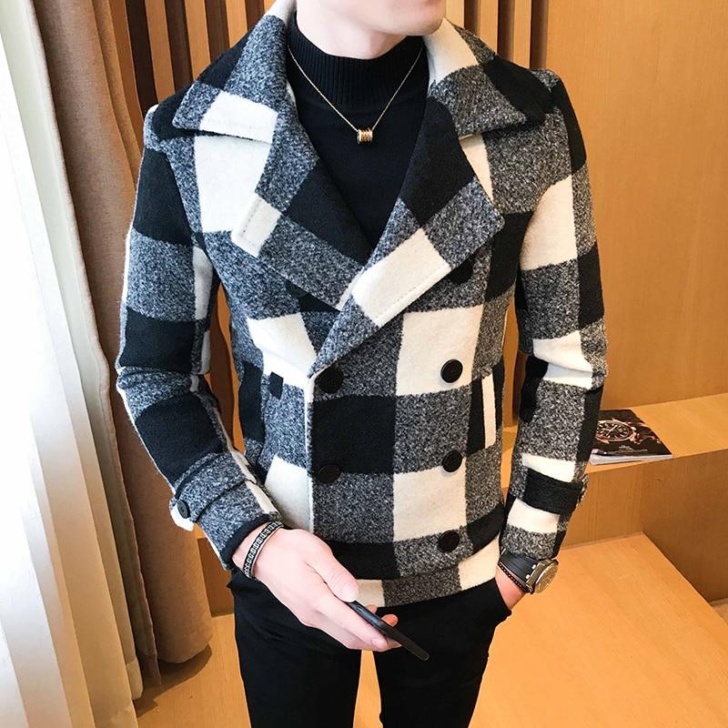 2019 new men's short woolen coat double-breasted design plaid casual woolen coat winter thick warm coat windbreaker Asia M-5XL