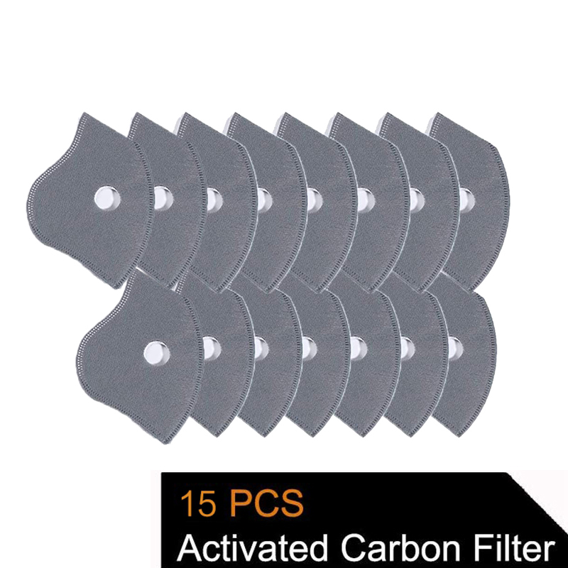15 Pcs Activated Carbon N99 PM2.5 Filters 5 Layers Filtration Exhaust Gas Anti Pollen Allergy Dust Mask Replacement Filter