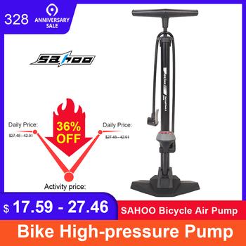 SAHOO pompka do roweru pompa do opon z górnym barometrem rodzaj podłogi jazda na rowerze pompa ciśnieniowa INFLATOR akcesoria rowerowe tanie i dobre opinie Stop 61cm
