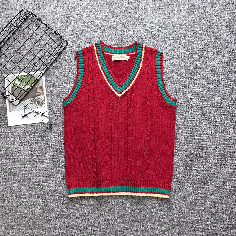 2020 Japanese Jk School Uniform New Cute Red Knitted Sweater Vest College Style Japan Soft Sister Jk Uniforms Pullover Vest S-XL