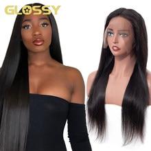 Brazylijski 30 Cal długie proste koronki przodu włosów ludzkich peruk Glueless 13X4 koronki przodu peruka 250% gęstości naturalne czarne zamknięcie peruka