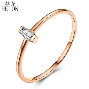 Image 1 - Женское кольцо с натуральным бриллиантом HELON, кольцо для помолвки из розового золота 18 К с огранкой багета AU750 0,05ct SI/H, модные ювелирные украшения