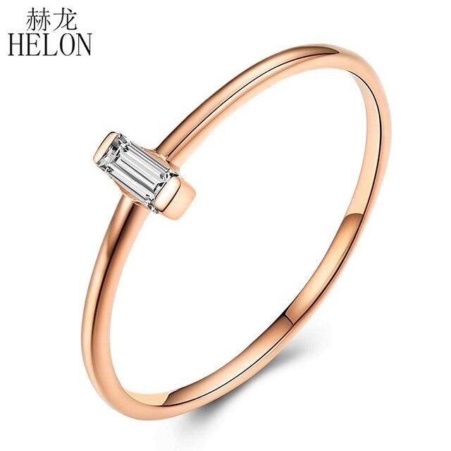 Женское кольцо с натуральным бриллиантом HELON, кольцо для помолвки из розового золота 18 К с огранкой багета AU750 0,05ct SI/H, модные ювелирные украшения