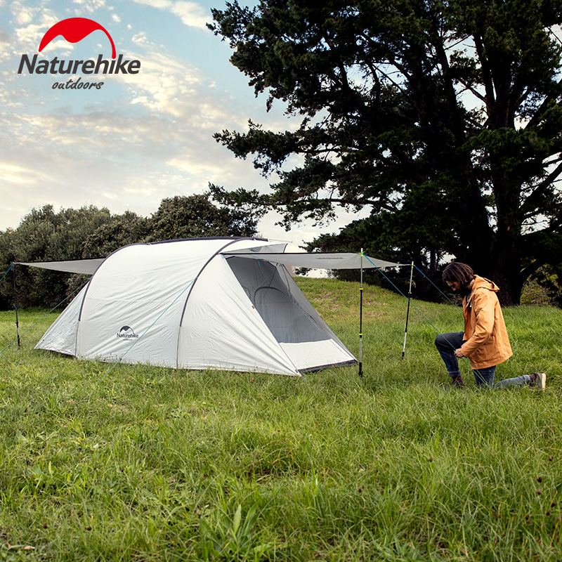 Naturehike 3-4 People Family Camping Tent Two-way Door Large Hall Tent Waterproof Outdoor Travel Camping Hiking