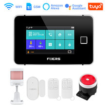 Tuya 433MHZ WIFI GSM Smart Security Alarm System With Fingerprint Arming 4.3inch TFT Touch Screen App Control Wireless Alarm Kit