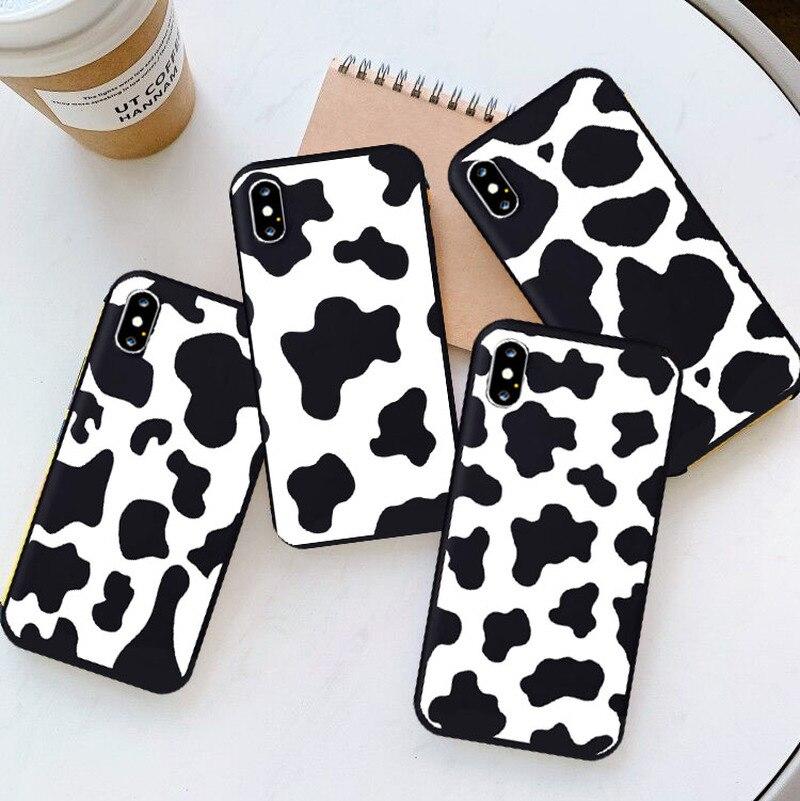 White Black Cow Symbol Pattern Print Phone Case Funda for IPhone 11 Pro Max 6 7 8 Plus SE 2020 X XS MAX XR Soft Silcone Cover