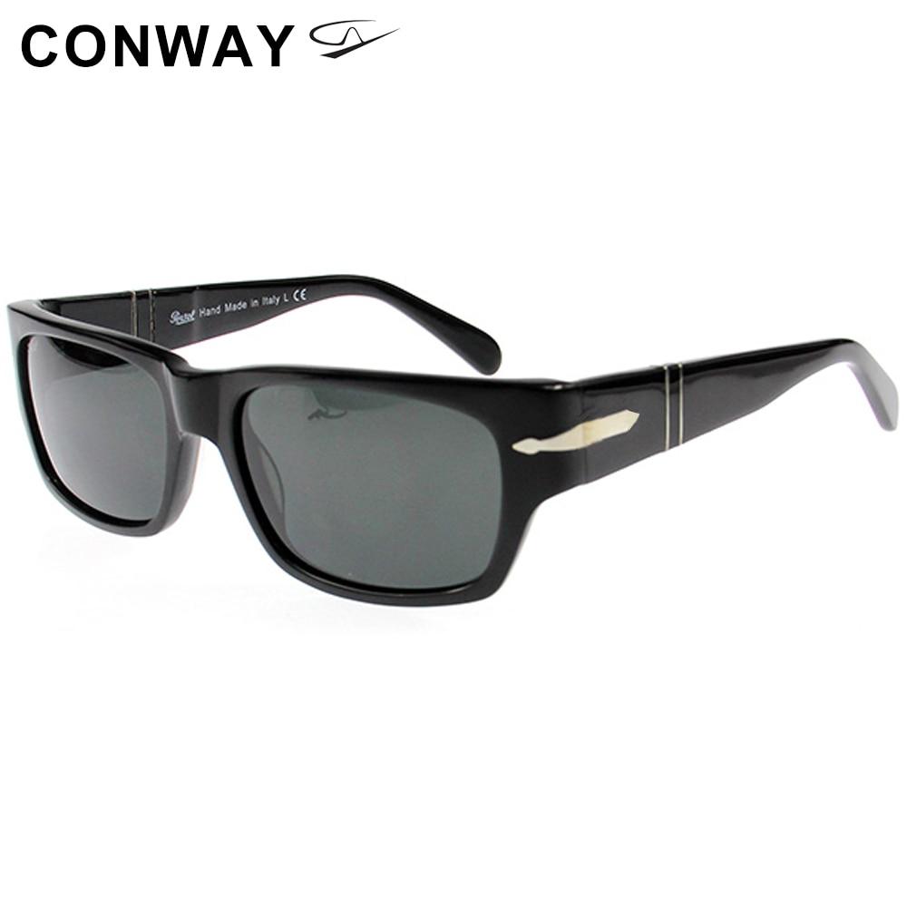 Conway Retro Brand Design Sunglasses For Men Nerd Square Sun Glasses Personal Acetate Wide Frame For Large Head Black Havana