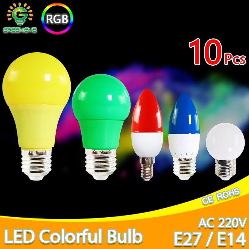 10pcs Led Bulb E27 E14 3W 5W 7W LED Lamp RGB A60 A50 G45 C35 Colorful Led Candle Light SMD 2835 AC 220V 240V Led Flashlight Bulb