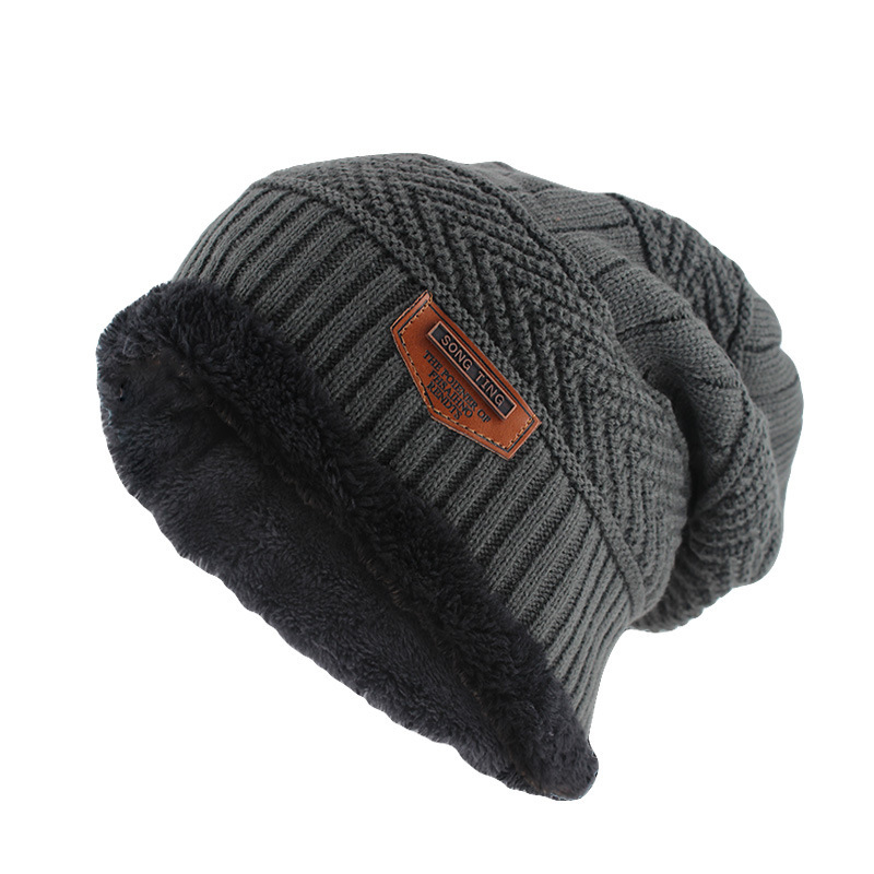 Sparsil Men Winter Knitted Fleece Hat Solid Color Velvet Thickening Warm Caps Autumn Outdoor Windproof Soft Beanies Boys