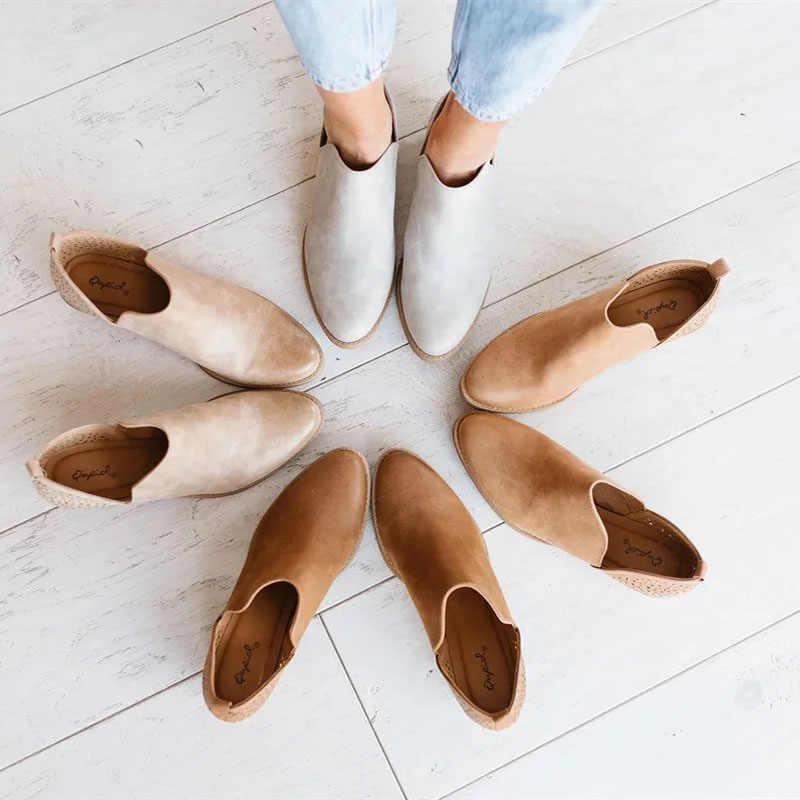 SHUJIN 2019 Torridity נשים נעלי רטרו העקב מגפי נקבה להחליק על עקבים מקרית Botas Mujer נעלי Feminina גודל 43