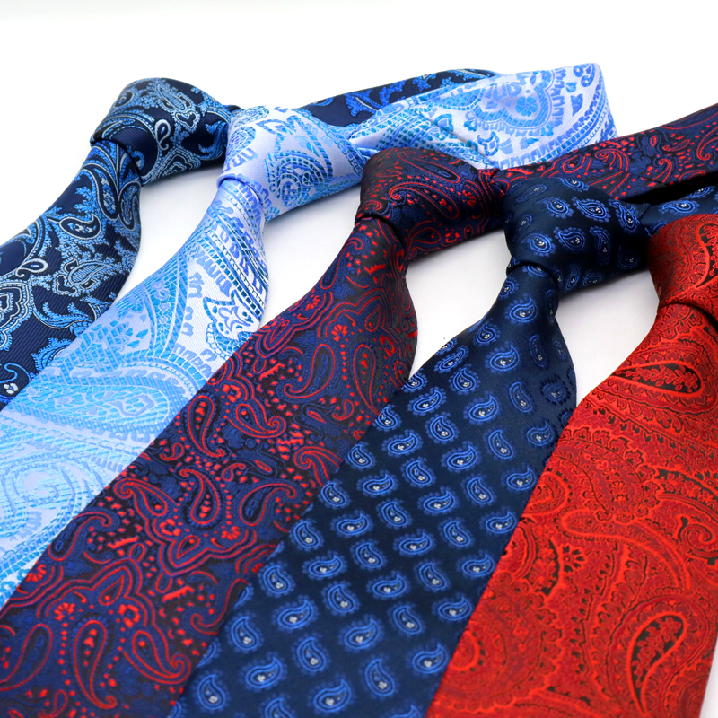 YISHLINE NEW Paisley Classic 8CM Mens Tie Plaids Man Neck Ties Fashion Neckwear Bridegroom Business Wedding Tie Men Accessories