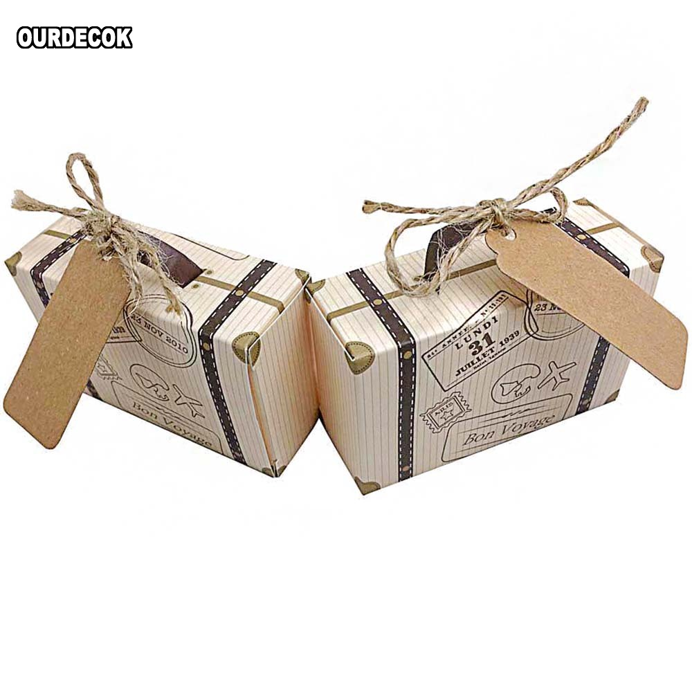 50pcs Creative Mini Suitcase Candy Box Candy Packaging Carton Wedding Gift Box Event Party Supplies Wedding Favors With Card