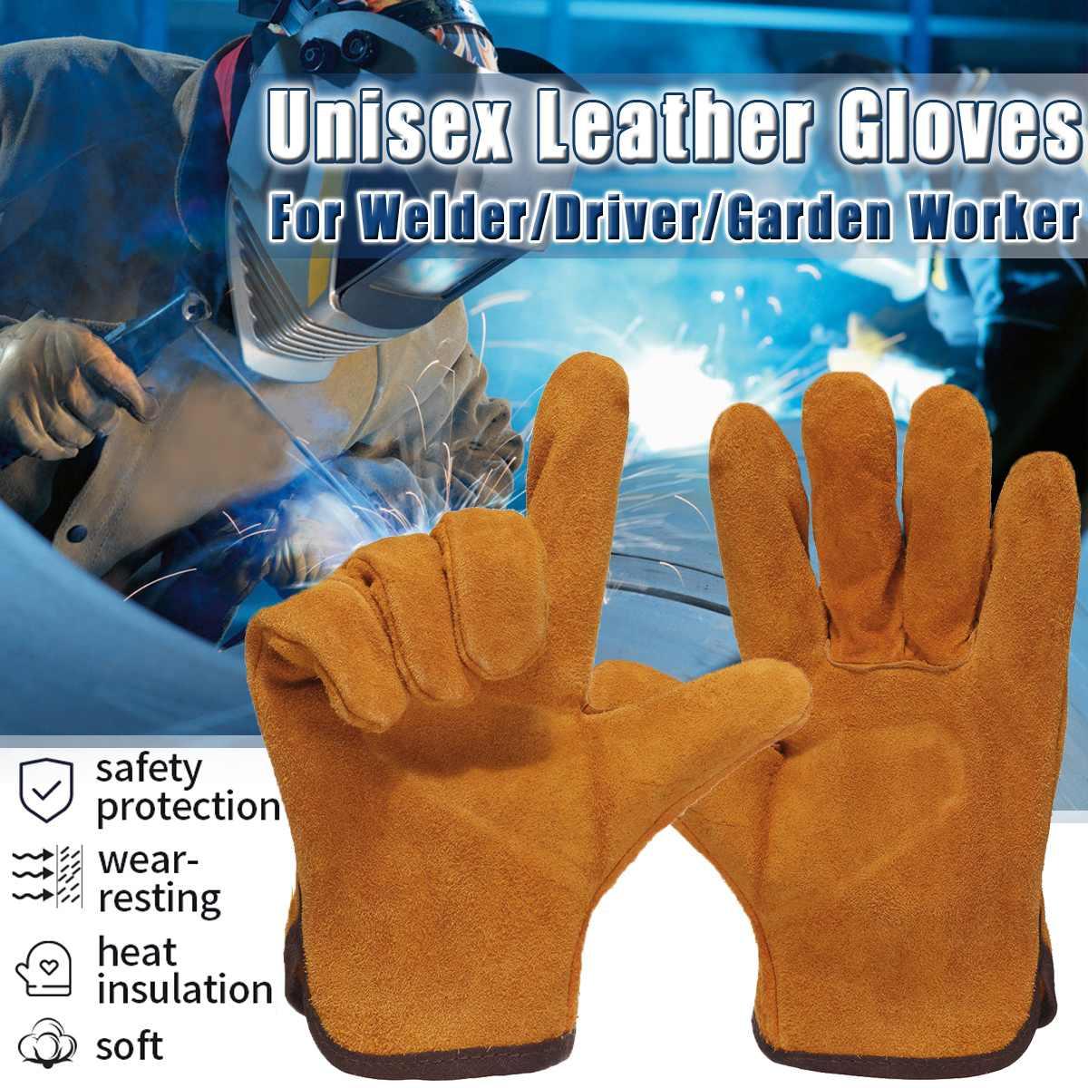 Pair Of Heavy Duty Gardening Welder Gloves Men Women Anti-HeatThorn Proof Cowhide Leather Work Gloves Yellow