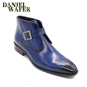 Luxury Ankle Boots Fashion Blue Handmade Genuine Leather Boots Pointed Toe Buckle Strap Wedding Office Dress Leather Shoes Men luxury pom pom decor ankle boots lace up black leather ankle strap buckle round toe ridding boots flats women motorcycle boots