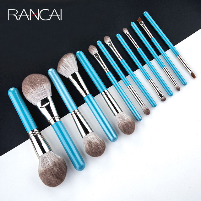 RANCAI 13pcs Makeup Brushes Set  With Leather Bag Foundation Powder Blush Eyeshadow Sponge Brush Soft Hair Cosmetic Tools 1