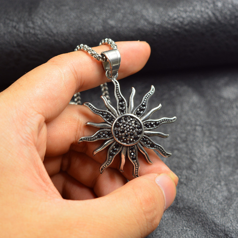 Hip hop Black stone silver color <font><b>Sun</b></font> Flower Charms 316L Stainless steel Pendants Accessories for Man Woman <font><b>Jewelry</b></font> Findings image