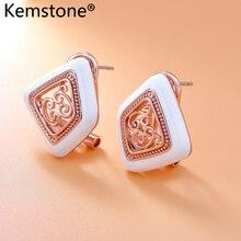 Kemstone Бирюзовая эмаль филигрань лоза серьги гвоздики розовое золото/серебро Цвет Геометрия для женщин ювелирные изделия