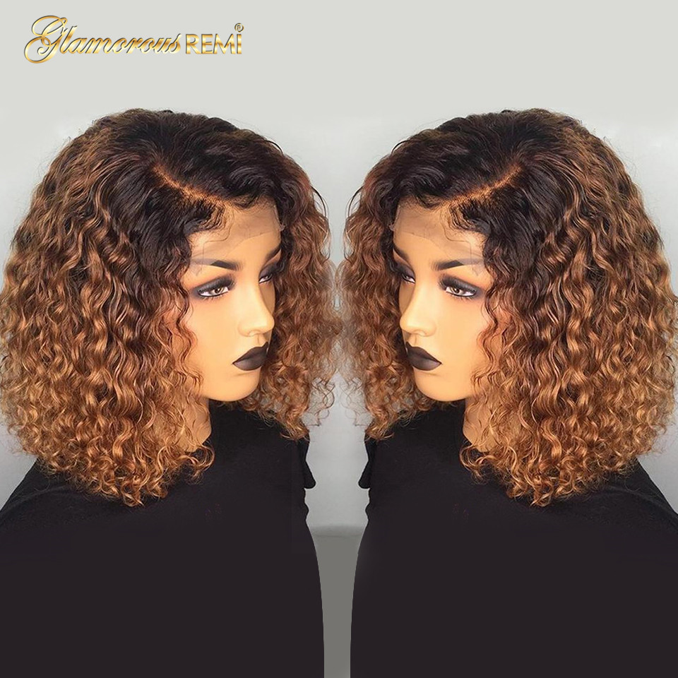 Ombre Curly Short Bob Wigs 1b/27  Curly Lace Front  Wigs With Baby Hair 4x4 Closure Wig  Density 150 2