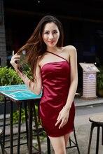 WannaThis – robe rouge en soie, Sexy, col en v, sans manches, haut, fendue, ourlet, longueur aux genoux, bretelles, Slim, robes de soirée, été