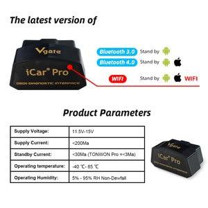 Image 4 - Vgate Icar Pro OBD2 Ferramentas Scanner Gereedschap Elm 327 Wifi V2.1 Ios Android Auto Diagnostische Scanner Code Reader Obdii Protocollen