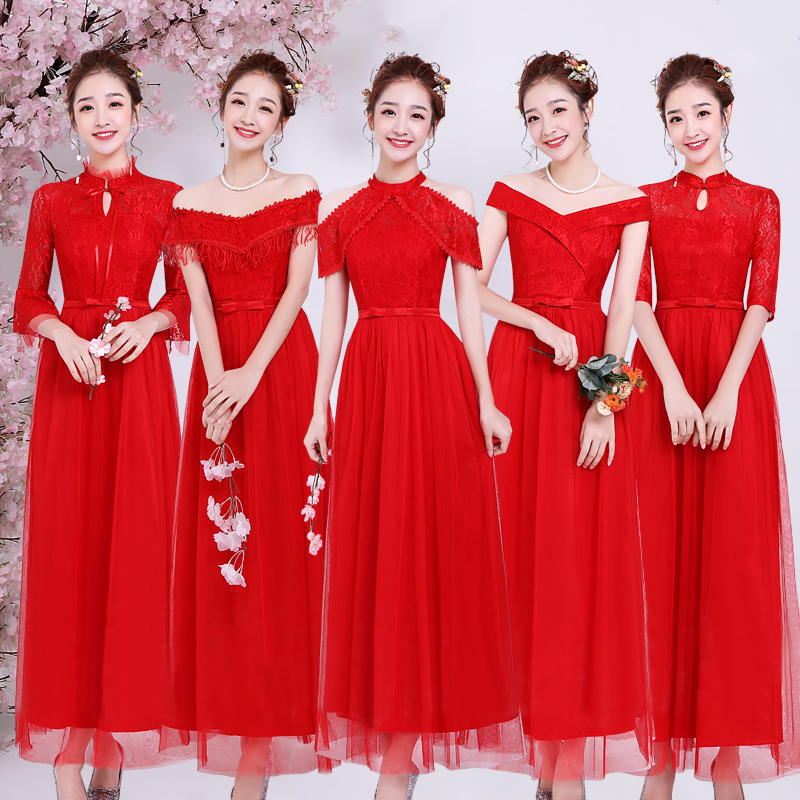 Red Bridesmaid Dress Junior Plus Size Tulle Elegant Dress Women For Wedding Party V-neck A-Line Vestido Azul Marino Prom Dress