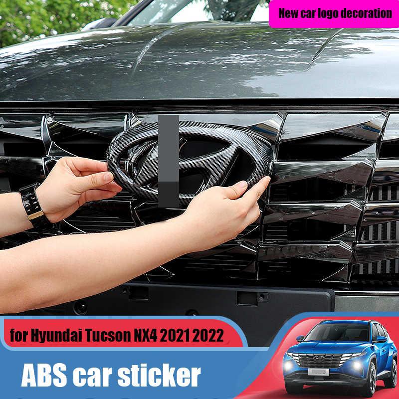 Значок на переднее и заднее Рулевое колесо для Hyundai Tucson NX4 otali.ru 2022, украшение из АБС-пластика, покрытое углеродным волокном, ярко-черный логотип автомобиля