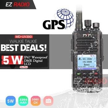 Sobre las MD-UV390 DMR Radio GPS impermeable IP67 Walkie Talkie de actualización de MD-390 Digital Radio MD UV390 doble banda VHF UHF Radio TYT