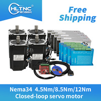 Free shipping 4 set Nema34 Closed Loop stepper Motor 6A 4.5N.m/8.5Nm/12Nm+2 Phase & HBS860H Hybrid Driver +400w60v power For CNC