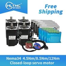 Free shipping 4 set Nema34 Closed Loop stepper Motor 6A 4.5N.m/8.5Nm/12Nm+2 Phase & HBS860H Hybrid Driver +400w60v power For CNC