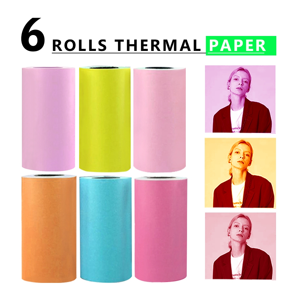 6 Rolls 57x30mm Thermal Printing Sticker Paper Adhesive Photo Paper For PeriPage Mini Pocket Photo Printer Cash Register Paper