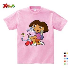 T-shirt pour filles   En coton, pour enfants, vêtements d'été en pur coton, t-shirt haut et drôle, confort blanc, tout-petit, Dora Explorer