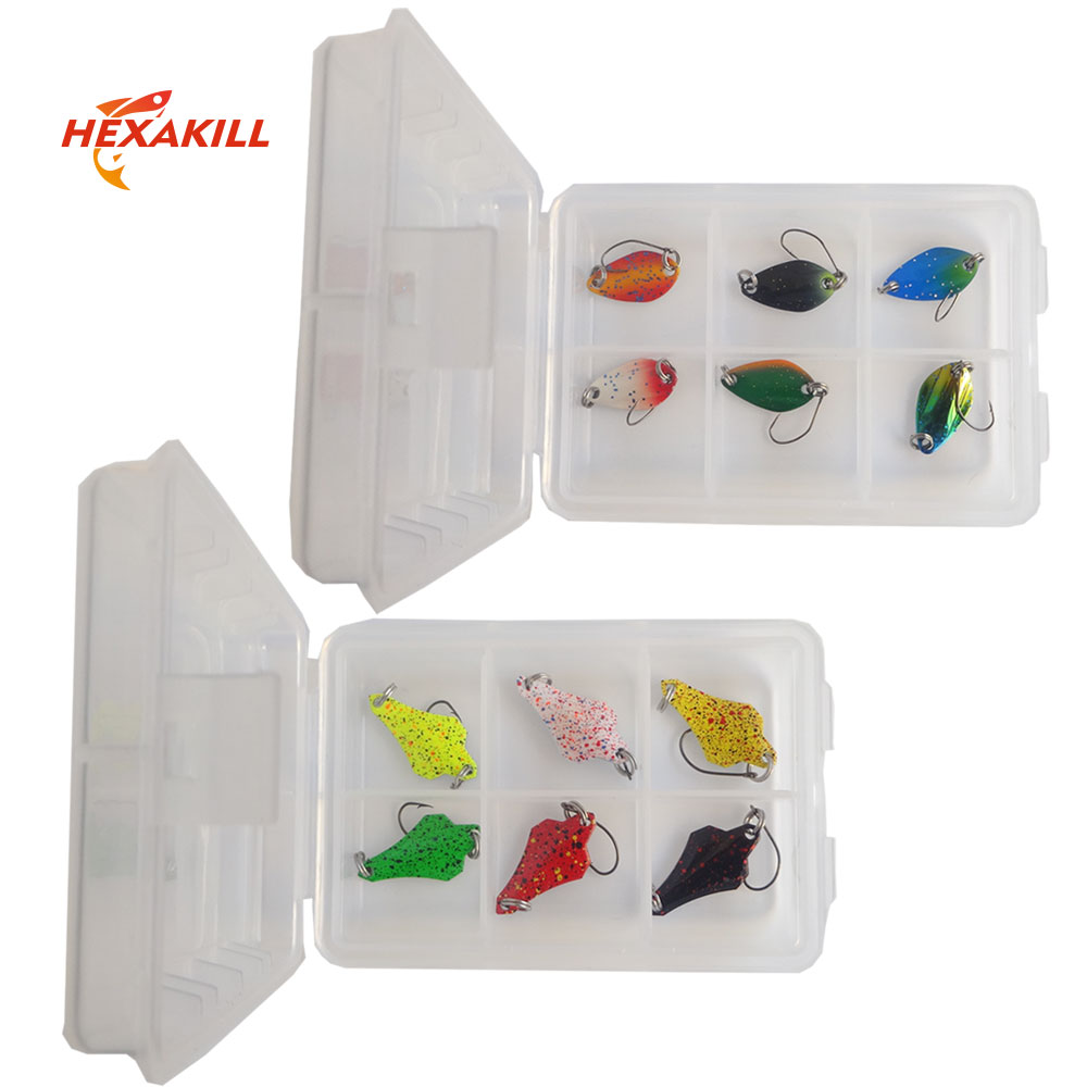 Hexakill Transparent PVC Box Metal bait set Spoons Trout Lures Kit Wobbler Spoon micro metal lures area trout fishing ultralight