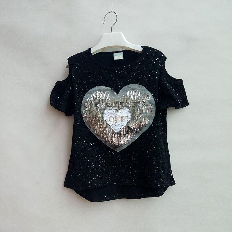 Girls Sequins Discoloration T-Shirt Kids Girls Summer Short Sleeve T Children's Top Clothing Cotton T-shirts Short-sleeved Tee