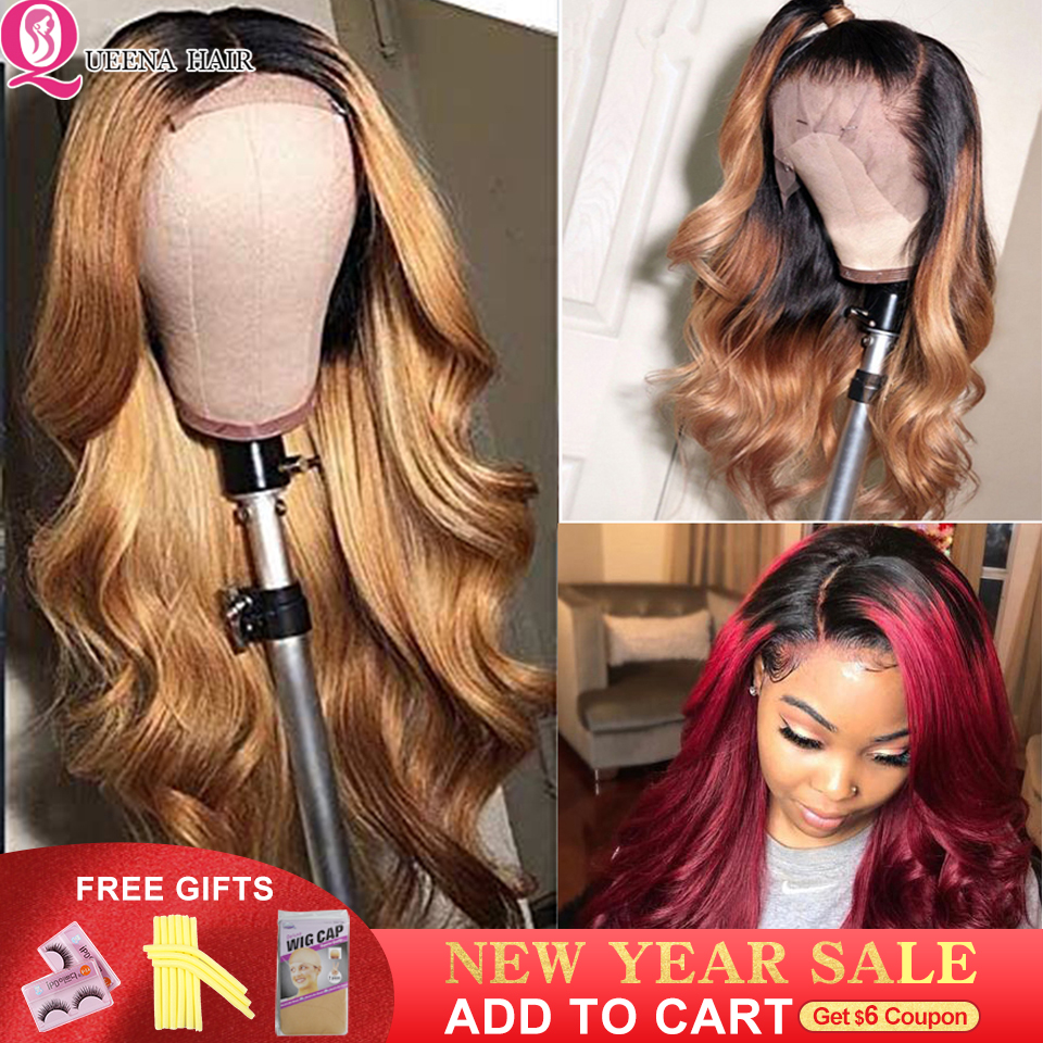 Glueless Brazilian Front Lace Wig13x4 Body Wave Colored Human Hair Lace Wigs Ombre Black Burgundy Blonde Lace Wigs Natural Remy